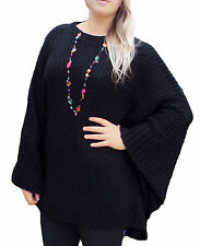 Womens New Poncho Jumper Batwing Cape Knitted Black Plus Size Poncho UK 22 - 32