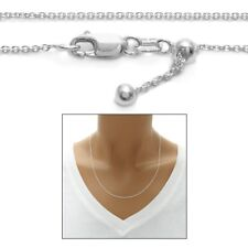 "925 Sterling Silver 22"" or 30"" Adjustable Rolo Chain Necklace 1mm"