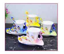 Peacock Coffee Cup Porcelain Gift Wedding Party Present One set Cup/Saucer/Spoon