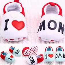 0-12Month Baby Girl Boys Cute Round Toe Flats Soft Slippers Shoes I Love MOM/DAD