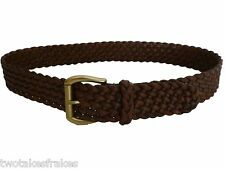 Regent Belt Company Co Brown Leather Plaited Woven Belt Made in England UK New