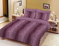 Duvet Cover with Pillow Case Quilt Cover Bedding Set All Size Leopard Pink