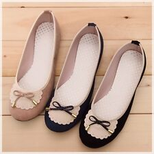 BN Womens Wedding Ballet FLATS BOWED BALLERINAS Casual Work Shoes Pink Blue Blk