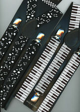"""Jazz Suspenders Braces ClipOn 1"""" Wide Elastic One Size Music Notes or Piano Keys"""