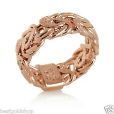 Technibond Byzantine Link Band Ring 14K Rose Pink Gold Clad Sterling Silver 925