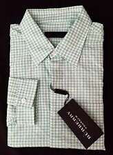 NWT $595 Burberry Prorsum Men's Green Gingham Plaid Button Down Shirt AUTHENTIC