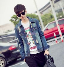 Mens New Fashion Trendy Denim Jacket Vintage Jean Coat Outwear Slim Ripped Hole