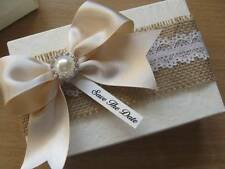 Vintage Wedding Favour - Hessian/Lace - Empty/Filled -13cm Gift Box Personalised