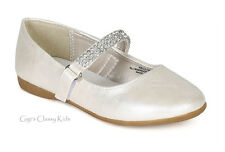New Baby Toddler Girls Ivory Dress Shoes Wedding Flats Mary Jane Rhinestones