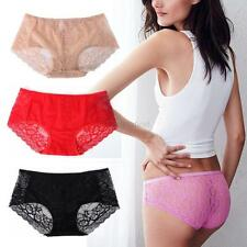 New Women High Waist Buttock Lace Floral Briefs Soft Panties Underwear Plus Size