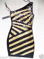 NWT bebe black gold stiped one shoulder sequin club bodycon top dress XS S M L