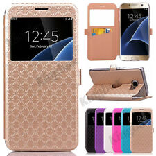 Flip Leather View Window Wallet Card Slot Stand Case Cover For Samsung & iPhone