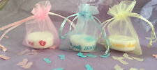 PERSONALISED BABY SHOWER  TEALIGHT CANDLE FAVOURS ANY COLOURS