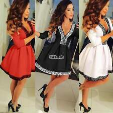 Sexy Womens V Neck Floral Skirt Dress Lace Skater Ladies Party Club Mini Dress