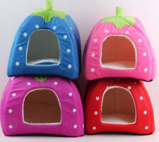 Cute Soft Strawberry Pet Dog Cat Bed House Kennel Doggy Fashion Cushion Basket