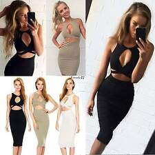New Women Sexy Sleeveless Cut Out Bandage Bodycon Stretch Club Party Dress EA77