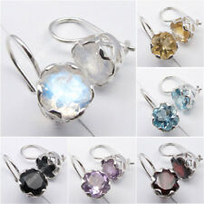 CAGE Earrings, 925 Sterling Silver Rainbow Moonstone & 7 Other Choices Gemstones