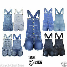 Ladies Women Dungarees Pinafore Dress Playsuit Jumpsuit Dungaree Denim Mini Jean