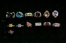 925 Silver Plated Ring 9k Gold Cocktail Gemstone Women Girls Size 8.5
