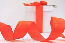 ORANGE WIRE EDGED RIBBON GIFT WRAPPING AUTUMN THANKSGIVING BOWS CRAFT 'CLAUDIA'