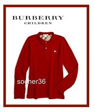 BURBERRY BOYS' PIQUE LONG SLEEVE POLO SHIRT MILITARY RED SIZE 8 OR 10 NWT $90