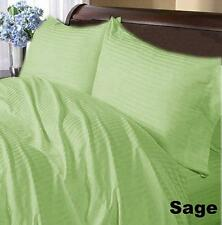 1000TC EGYPTIAN COTTON  SAGE STRIPED  BEDDING'S EXTRA DEEP POCKET FITTED SHEET