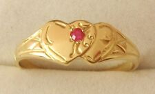 GENUINE SOLID 9ct YELLOW GOLD DOUBLE HEART RUBY SIGNET RING Sizes  J/5 to N/7