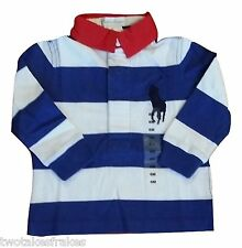 Boys Ralph Lauren Rugby Blue Striped Polo Shirt LS Long Sleeve Big Pony Top NEW