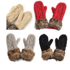 Ladies Wool Winter Snow Mittens Knitted Fleece Lined Fur Gloves-Black FK