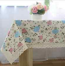 Vintage Pink Blue Flower Dinning Coffee Table Cotton Linen Cloth Covering L