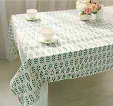 Vintage Simple Blue Leaves Dinning Coffee Table Cotton Linen Cloth Covering L