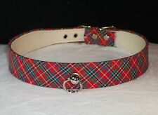 DOG Pet Collar PLAID Tartan Blue or Red Christmas Made in USA!  Sizes 14 to 20