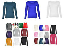 Womens Long Sleeve Stretch Plain Round Scoop Neck T Shirt Top 8-14 Rnc