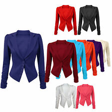 Ladies  RUCHED LONG SLEEVE BLAZER Button Panel Slim Fit Jacket