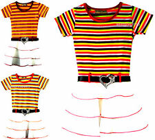 Girls Summer Holiday Dress Ruffle Skirt Multi Colour Stripes Party Belt Age 3-10