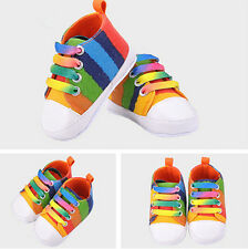 Girls Boys Soft Canvas Shoes Casual High Quality  Walkers Baby Shoes Rainbow
