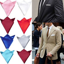 Men's Formal Solid Silk Suit Pocket Square Handkerchief Kerchief Hanky