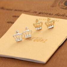 2 Pairs HOT Fashion Crown Earrings With Crystal Stud Earrings Xmas Gift Party CN