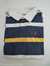 Ralph Lauren Boys Long Sleeve Navy Blue Yellow White Polo Top Rugby Shirt NEW