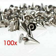 100X 10mm Metal Bullet Studs Cone Punk Spikes Spots Rivets Belt Leathercraft DIY