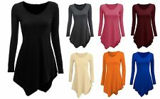 Women V-Neck Long Sleeve Irregular Hem Tunic Top Tops T-Shirt Dress Blouse