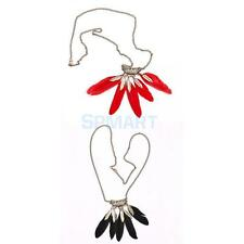 Fashion Charm Hollow Metal Leaves Feather Pendant Chain Necklace Jewelry