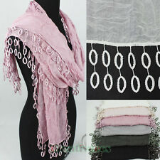 Fashion Women's Lace Tassel Circle Solid Color Soft Cotton Long Scarf Shawl New