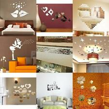 Silver Mirror Style Removable Decal Art Mural Wall Vinyl Sticker Home DIY Decor