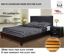 NEW PU Leather Bed Frame With Pine Slats (Single,Double,Queen,King)