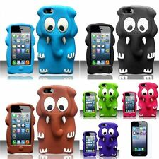 For iPhone 5 5G 3D Elephant Silicone Soft Skin Rubber Case Cover+LCD Film Guard