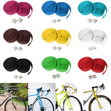 Pair Bike Bicycle Cycling Cork Ribbon Handlebar Grip Bar Tape Wrap + 2 Bar Plugs