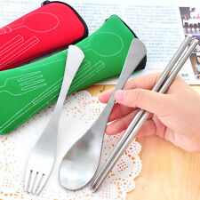 Camping Travel Outdoor Portable Stainless Steel Fork Spoon Chopsticks Set S2U