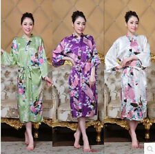 Cozy Women's Silk Long Style Kimono Robe Gown Sleepwear Sz: S M L XL 2XL 3XL