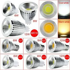 Cool Dimmable 6W 9W 12W GU10 E27 MR16 COB LED Bulbs Cool/Warm White Spot Lights